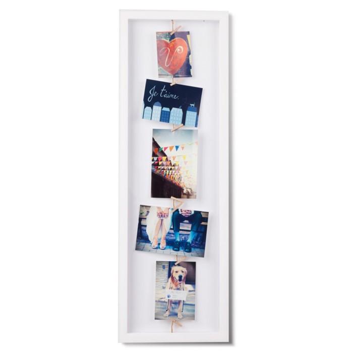 Панно с зажимами для 7 фото Clothesline, белое