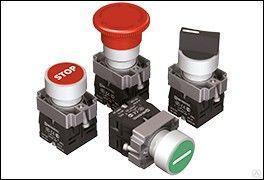 """Кнопка плоская с маркировкой, красная, знак """"stop"""", 1NC,мет. MTB2-BAZ12434"""