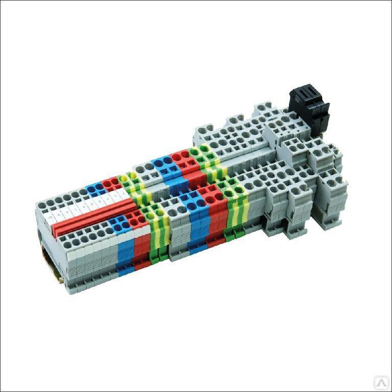 Клемма пружинная проходная, 4 мм2, синяя MTS-4BL