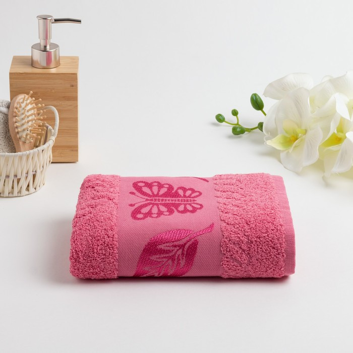 Полотенце махровое «Fiesta Cotonn Butterfly» 50х90 см, цвет розовый
