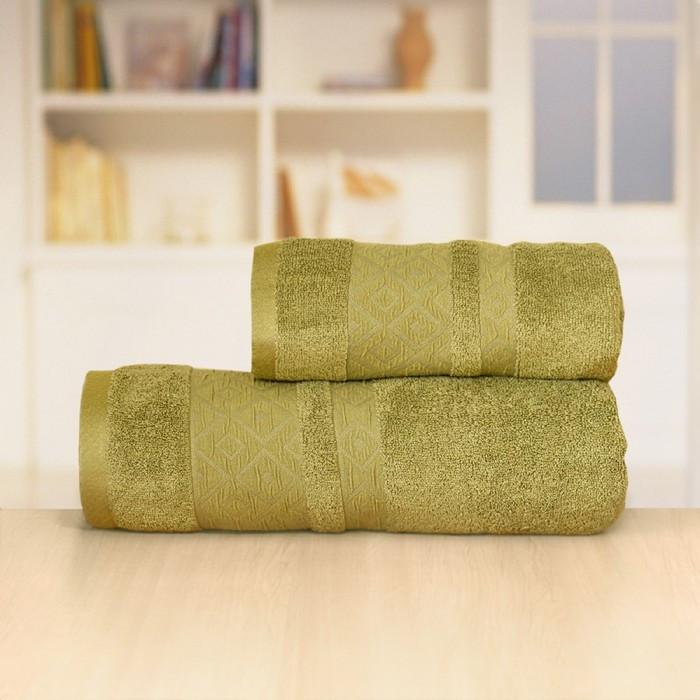 Полотенце «Бамбук ромбы», размер 50 × 90 см, цвет зелёный