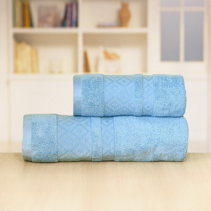 Полотенце «Бамбук ромбы», размер 50 × 90 см, цвет синий
