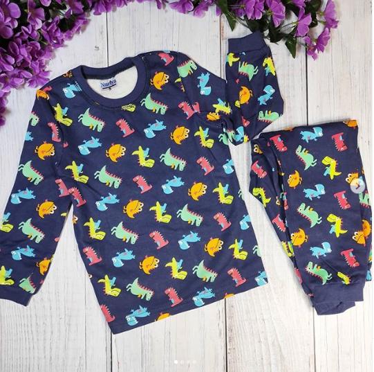 Пижама с дракошами, синяя
