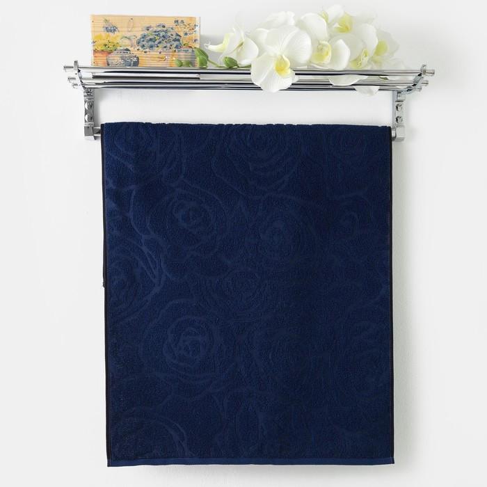 Полотенце махровое Privilea, Роза маленькая 50х90 см, синий, хлопок 100%, 411 г/м2