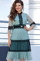 Женское осеннее кружевное бирюзовое нарядное большого размера платье Vittoria Queen 11883 46р.
