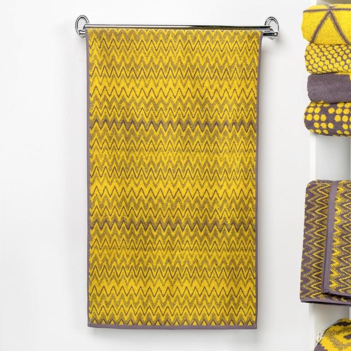 """Полотенце махровое """"Этель"""" Зигзаги цвет жёлтый 50х90 см, 100% хл, 420 гр/м2"""