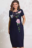 Женское летнее льняное синее большого размера платье Vittoria Queen 11773/2 48р.
