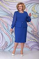 Женское осеннее синее большого размера платье Ninele 2265 василек 54р.