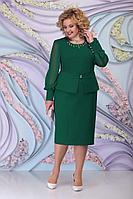 Женское осеннее зеленое большого размера платье Ninele 2265 изумруд 54р.