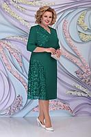 Женское осеннее зеленое большого размера платье Ninele 2267 изумруд 54р.