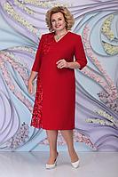 Женское осеннее красное большого размера платье Ninele 2267 красный 54р.