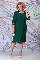 Женское осеннее зеленое большого размера платье Ninele 2361 изумруд 52р.