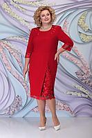 Женское осеннее красное большого размера платье Ninele 2361 красный 52р.
