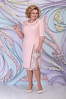 Женское осеннее розовое большого размера платье Ninele 2361 пудра 52р.