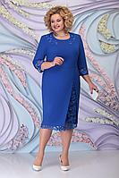 Женское осеннее синее большого размера платье Ninele 2361 василек 52р.