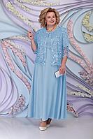 Женский осенний трикотажный голубой нарядный большого размера комплект с платьем Ninele 3160 голубой 54р.