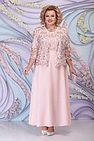 Женский осенний трикотажный розовый нарядный большого размера комплект с платьем Ninele 3160 пудра 54р.