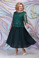 Женское осеннее шифоновое зеленое нарядное большого размера платье Ninele 5792 изумруд 54р.