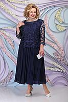 Женское осеннее шифоновое синее нарядное большого размера платье Ninele 5792 темно-синий 54р.