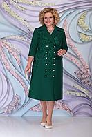 Женское осеннее кружевное зеленое нарядное большого размера платье Ninele 5797 изумруд 52р.