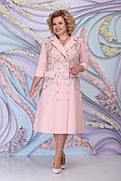 Женское осеннее кружевное розовое нарядное большого размера платье Ninele 5797 пудра 52р.