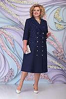 Женское осеннее кружевное синее нарядное большого размера платье Ninele 5797 темно-синий 52р.