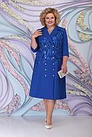 Женское осеннее кружевное синее нарядное большого размера платье Ninele 5797 василек 52р.