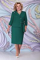 Женское осеннее зеленое нарядное большого размера платье Ninele 5798 изумруд 54р.