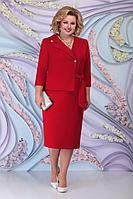 Женское осеннее красное нарядное большого размера платье Ninele 5798 красный 54р.