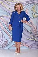 Женское осеннее синее нарядное большого размера платье Ninele 5798 василек 54р.
