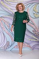 Женское осеннее зеленое большого размера платье Ninele 7297 изумруд 58р.