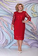Женское осеннее красное большого размера платье Ninele 7297 красный 58р.