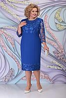 Женское осеннее синее большого размера платье Ninele 7297 василек 58р.