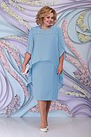 Женское осеннее шифоновое голубое нарядное большого размера платье Ninele 7298 голубой 54р.