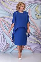 Женское осеннее шифоновое синее нарядное большого размера платье Ninele 7298 василек 54р.