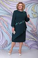 Женское осеннее зеленое нарядное большого размера платье Ninele 5800 изумруд 52р.