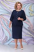 Женское осеннее синее нарядное большого размера платье Ninele 5802 синий 52р.