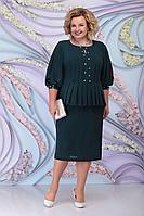 Женское осеннее зеленое нарядное большого размера платье Ninele 5802 изумруд 52р.