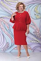 Женское осеннее красное нарядное большого размера платье Ninele 5802 красный 52р.