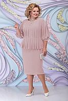 Женское осеннее розовое нарядное большого размера платье Ninele 5802 пудра 52р.