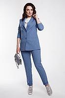 Женский осенний голубой деловой жакет Дорофея 425 темно-голубой,черный 42р.