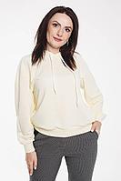 Женское осеннее трикотажное белое спортивное большого размера худи Дорофея 345 молочный 46р.