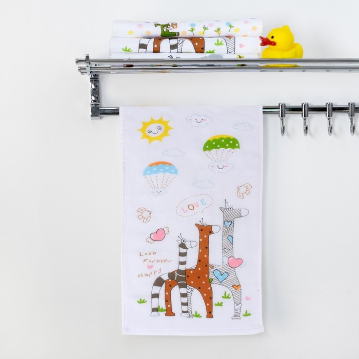 "Полотенце двухстороннее Крошка Я ""Жирафы"" 25 х 50 см, 100% хлопок"