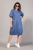 Женское летнее синее большого размера платье Сч@стье 7104/1 56р.