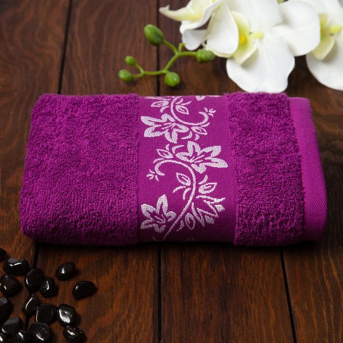 Полотенце махровое Цветок ВЦ 50х90 см, фиолетовый, хлопок 100%, 360гр/м2