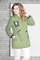 Женская осенняя зеленая большого размера куртка Needle Ревертекс 369/13 50р.