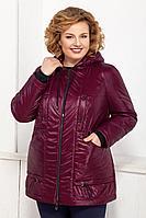 Женская осенняя красная большого размера куртка Ивелта плюс 873 темно-бордовый 52р.