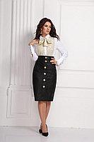 Женская осенняя кожаная черная деловая большого размера юбка Solomeya Lux 626 48р.