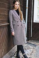 """Женское осеннее драповое серое пальто Gotti 172-13 серо-коричневая """"елочка"""" 40р."""