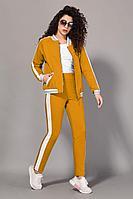 Женский осенний трикотажный оранжевый спортивный большого размера спортивный костюм Сч@стье 7056-4 42р.